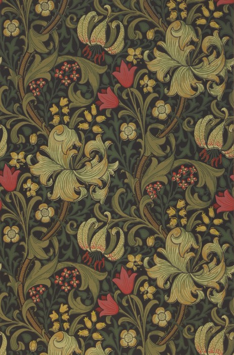 Wallpaper Wispa Hand printed look Matt Leaf tendrils Flower tendrils Lilies Black grey Brown beige Green beige Olive green Rosè
