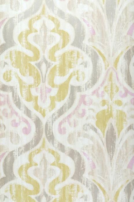Papel pintado Artio Mate Damasco barroco Blanco crema Violeta pálido Verde amarillento Gris plateado brillante