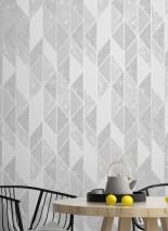 Papel pintado Lasmo Patrón mate Superficie base brillante Elementos gráficos Aluminio blanco Tonos de gris Blanco grisáceo