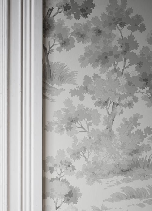 Botanical Wallpaper Wallpaper Calobra grey tones Room View