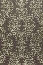 Wallpaper Anahita Shiny pattern Matt base surface Modern damask Grey brown White gold lustre