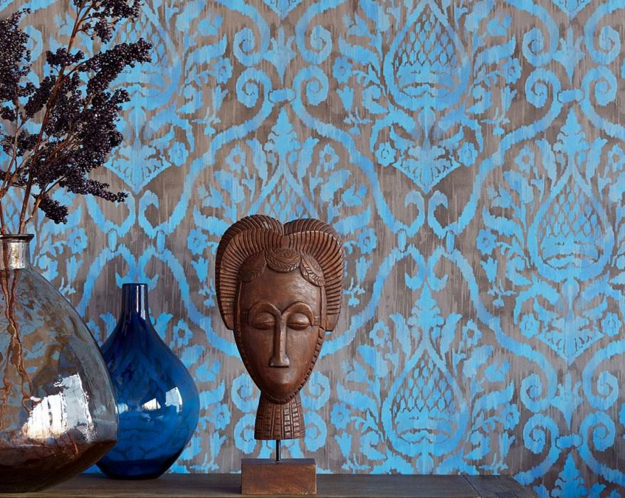 Wallpaper Esiko Matt Floral damask Pale brown Grey brown Brilliant blue Light blue Pigeon blue