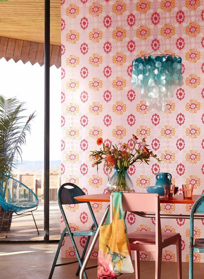 Papel pintado rosane rosa magenta amarillo narciso - Papel pintado de los 70 ...