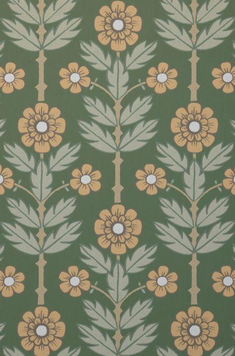 Papier peint vintage Papier peint Magdalena vert pin Détail A4