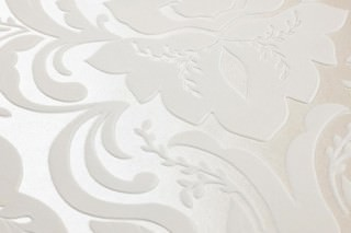 Papel pintado Sennin Superficie base brillante Damasco barroco Nácar brillante Blanco crema