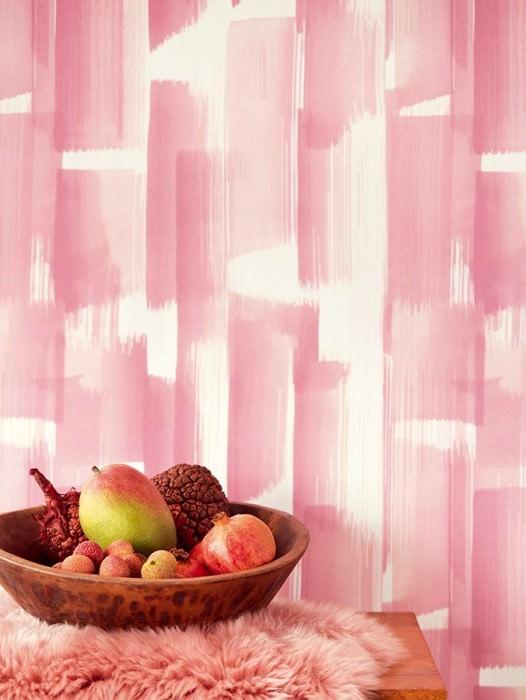 Papel de parede Pandero Mate Arte Moderna Listas Violeta avermelhado pálido Rosa claro Branco