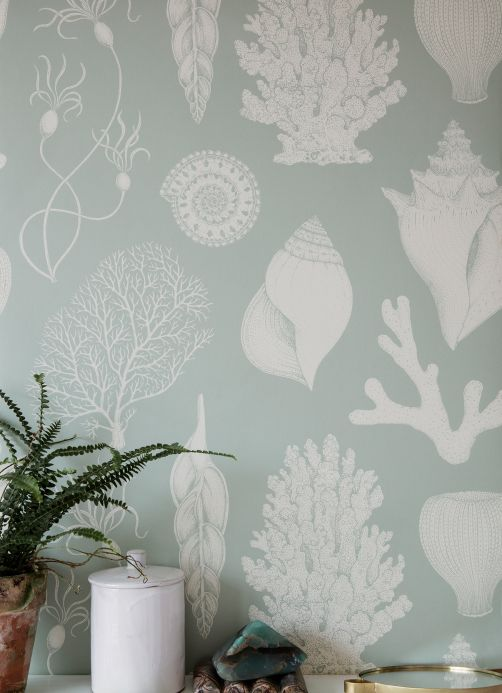 Flock Wallpaper Wallpaper Shells pastel green Room View