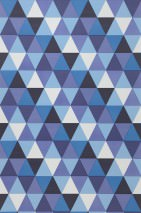 Wallpaper Pilatus Matt Triangles Shades of blue Cream Lilac