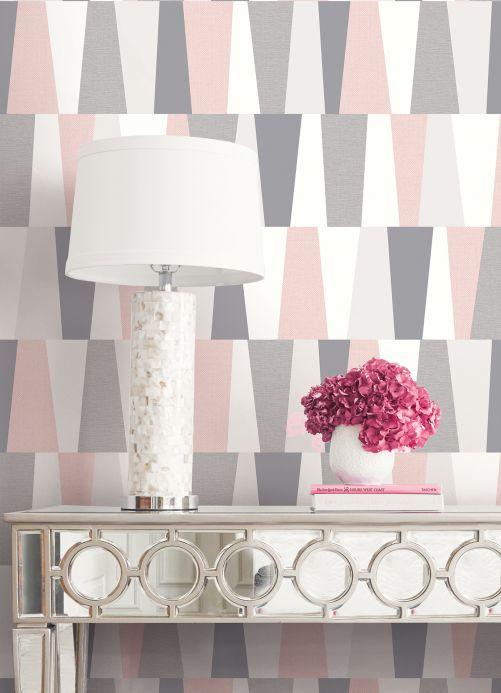 Papel pintado geométrico Papel pintado Jadina rosa claro Ver habitación