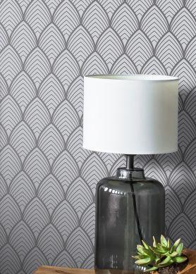 Papel pintado Soana gris claro Ver habitación