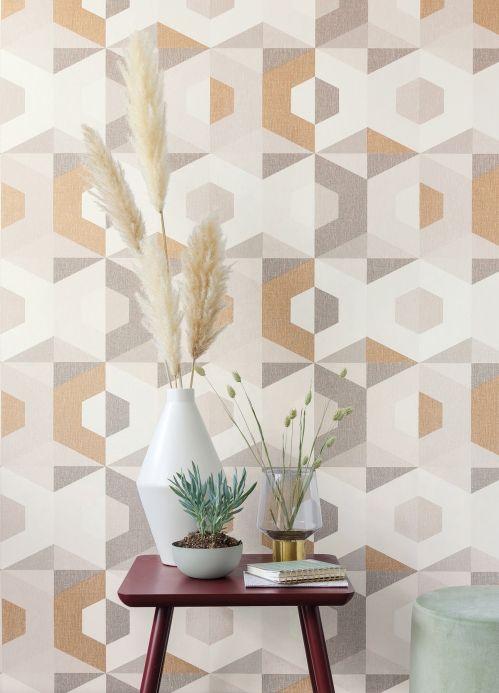 Papier peint géométrique Papier peint Fabrice tons de brun Vue pièce