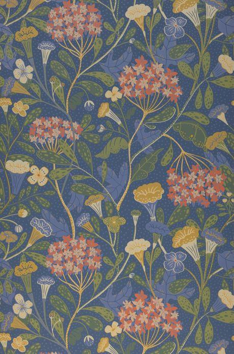Papel de parede floral Papel de parede Flowery cinza azulado Bahnbreite