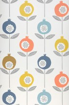 Wallpaper Nella Matt Stylised flowers Cream Blue Gorze yellow  Grey Green brown Salmon red