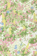 Carta da parati Freya Opaco Fiori di campo Bianco crema Blu pallido Viola rossastro pallido Giallo pallido Verde