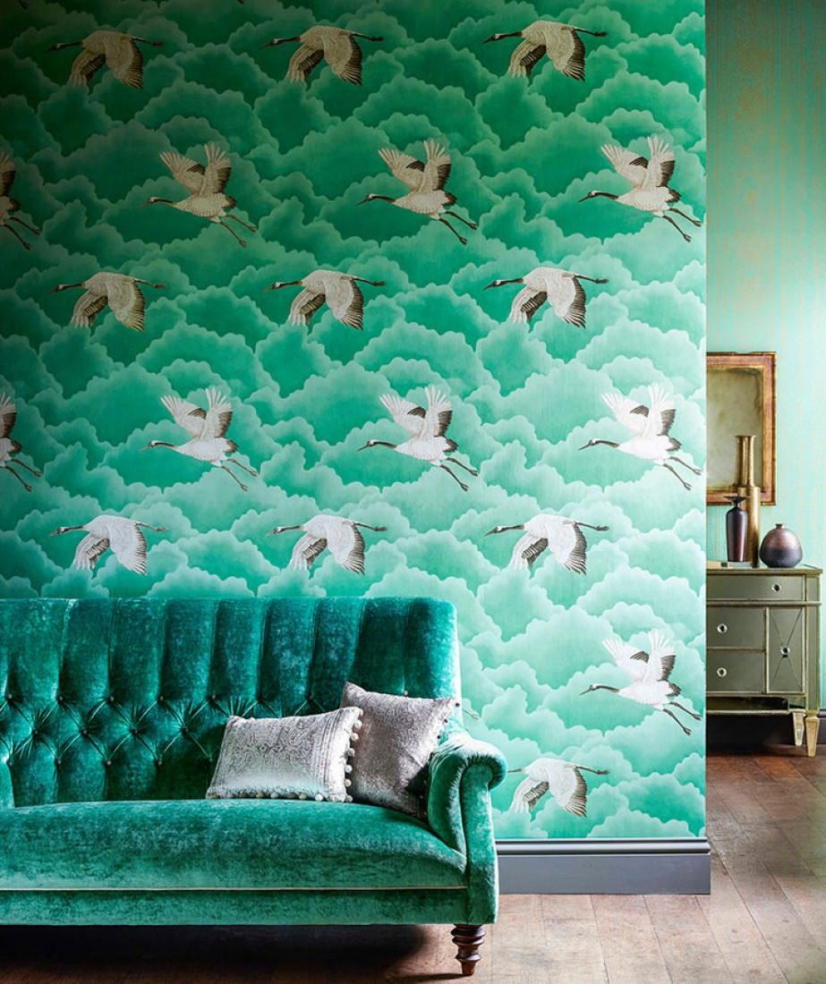 Papier peint inola vert beige blanc cr me brillant for Selling wallpaper