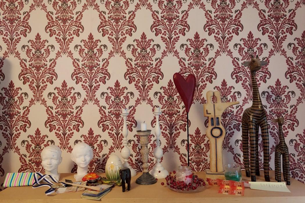 Papel de parede Georgina Efeito estampado à mão Mate Damasco floral Branco creme Bege pardo Vermelho púrpura Marrom chocolate
