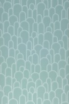 Wallpaper Fabius Matt Bends White Pastel turquoise