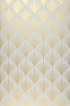 Wallpaper Mayfair Hand printed look Shimmering pattern Matt base surface Art Deco Stylised flowers Light grey Pearl gold