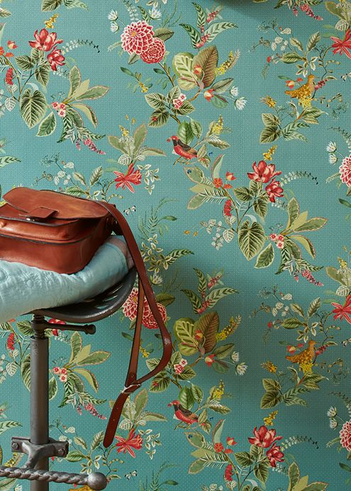 Floral Wallpaper Wallpaper Sylvania mint turquoise Room View