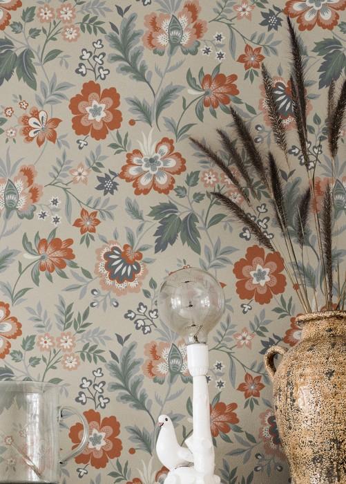 Papel pintado Judica Mate Hojas Flores Blanco grisáceo Rojo beige Gris grafito Gris Verde pino Marrón cobre