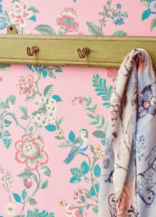 Papier peint floral Papier peint Miri rosé clair Vue pièce
