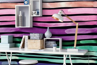 Wallpaper Barletta Matt Cross stripes Black Claret violet Green Rose Violet