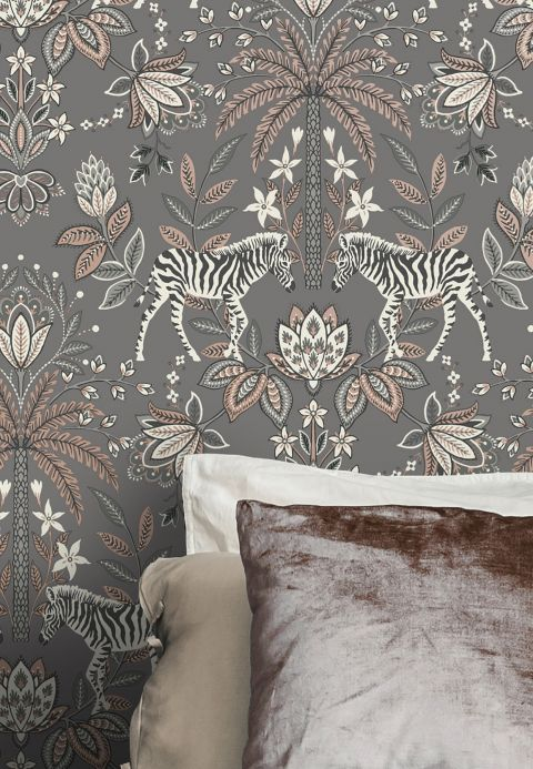 Floral Wallpaper Wallpaper Fento grey Room View