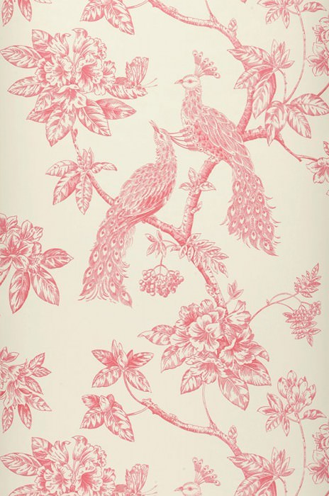 Wallpaper Marenka Matt Blossoms Peacocks Branches Cream Ruby red
