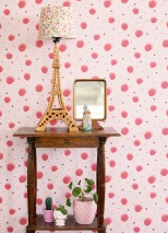 Wallpaper Pia Matt Dots Pale pink Antique pink Crimson red Rosè