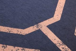 Wallpaper Kalea Matt Geometrical elements Octagons Dark blue Rosewood shimmer