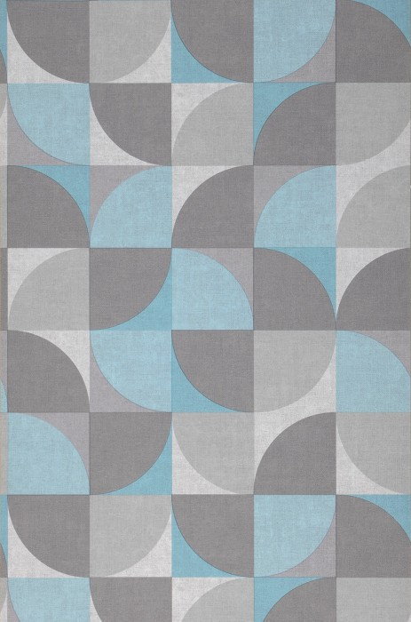 Wallpaper Junimo Matt Graphic elements Retro design Grey tones Pastel turquoise Turquoise blue