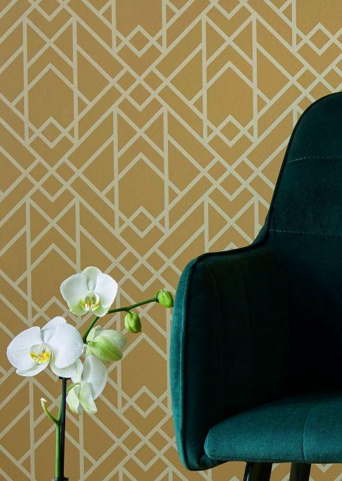 Art Deco Wallpaper Wallpaper Baya ochre yellow Room View