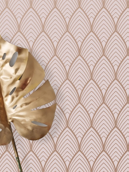 Tapete Soana Muster matt Untergrund schimmernd Art Deco Bögen Rosenholz Zartrosa