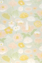 Wallpaper Little Light Hand printed look Matt Leaves Blossoms Rabbits Pale grey Beige red Cream Gorze yellow  Pea green