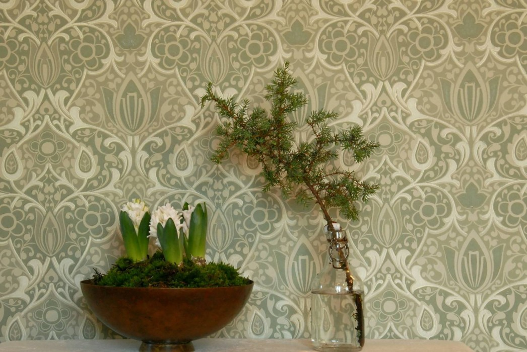 Wallpaper Lamine Hand printed look Matt Art nouveau damask Grey olive Yellow grey Green white Olive green