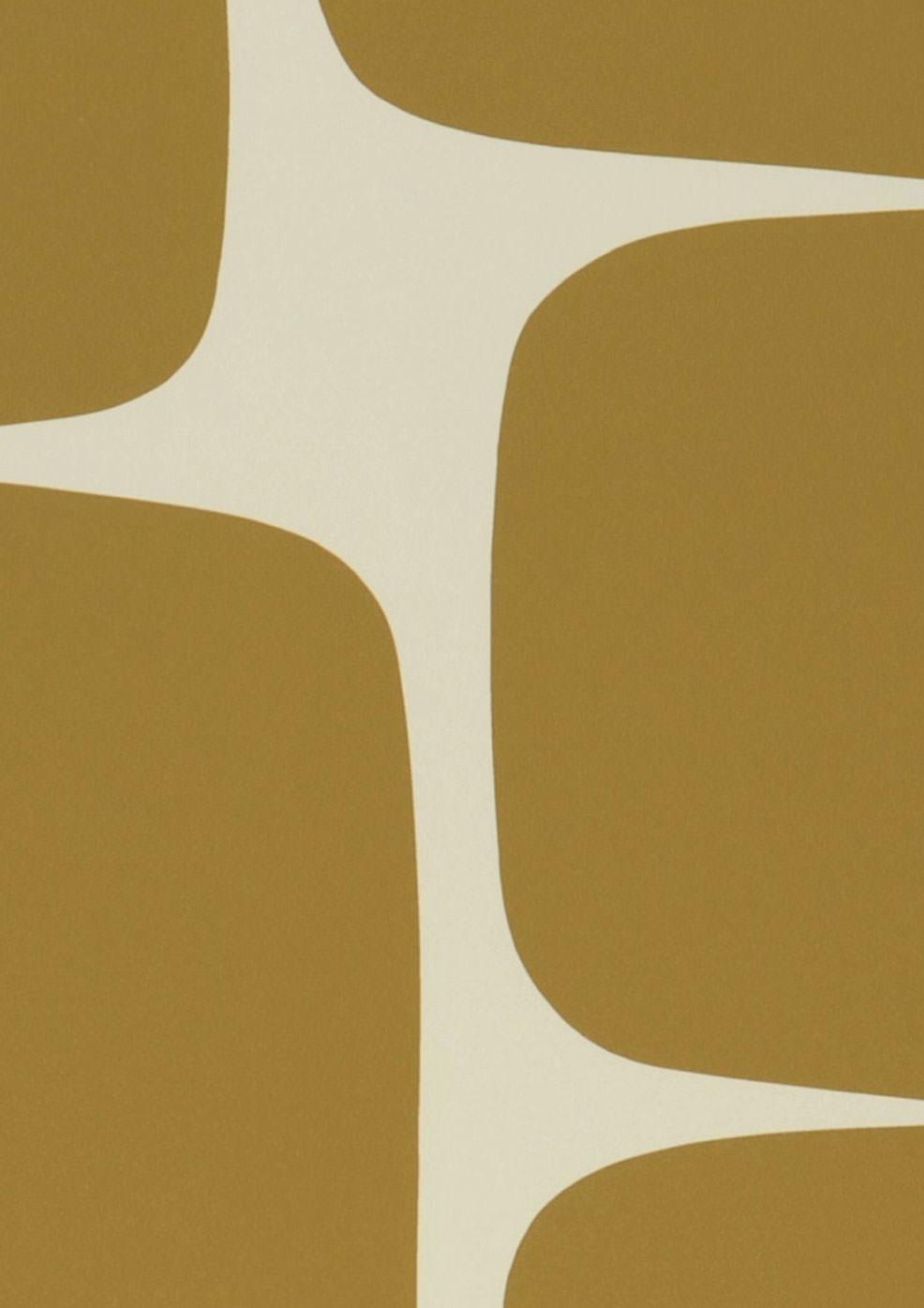 Papel pintado waris blanco crema ocre papeles de los 70 - Papel pintado de los 70 ...