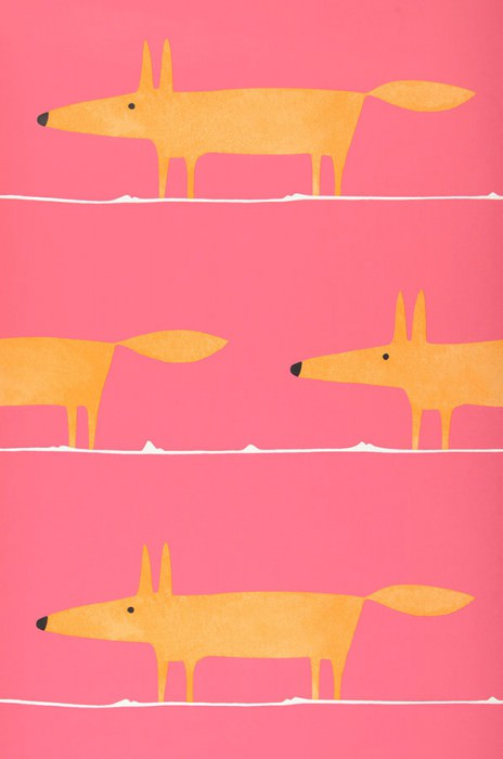 Papel de parede What does the Fox say Mate Raposas Rosa Laranja Branco