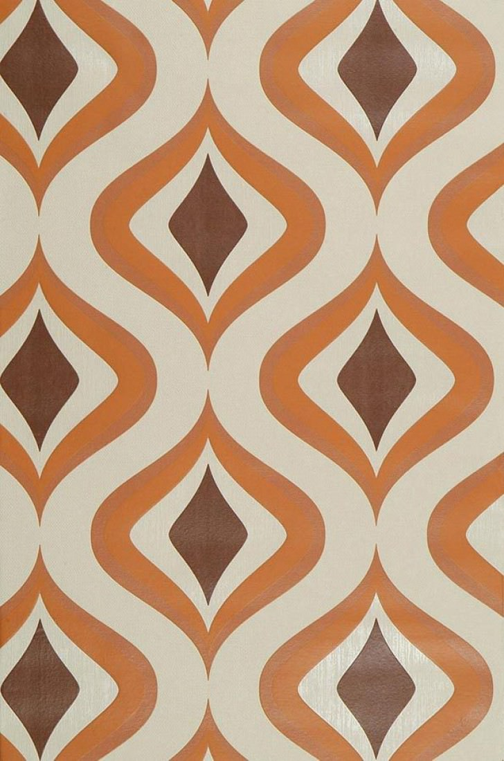 Papier peint triton ivoire clair brun orange papier - Papier peint retro ...