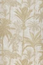 Wallpaper Desert Palms Matt Palm trees Cream Brown beige Light ivory Light grey beige