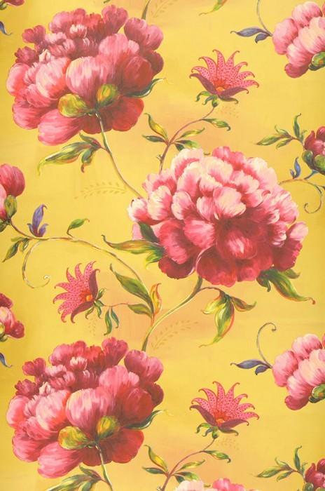 Papier peint Meila Mat Feuilles Fleurs Jaune vert Vert jaune Rosé clair Rouge Bleu violet