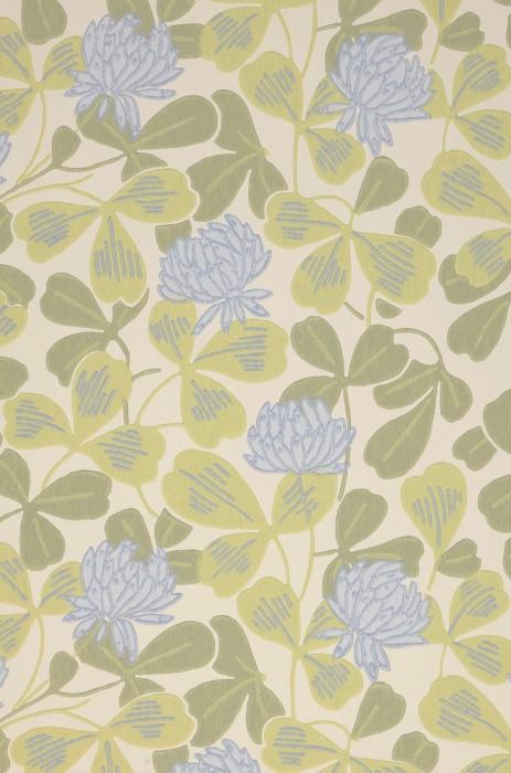 Carta da parati Ludivine Effetto stampato a mano Opaco Foglie Fioritura Art nouveau Trifoglio Bianco crema Blu chiaro Verde felce chiaro Verde olivastro
