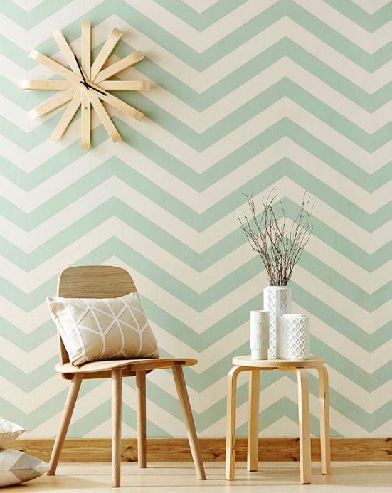 Geometric Wallpaper Wallpaper Zag zig pastel green Room View