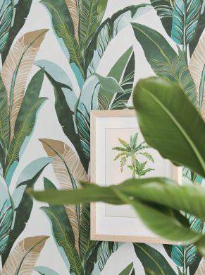 Papier peint Lasita turquoise menthe Vue pièce