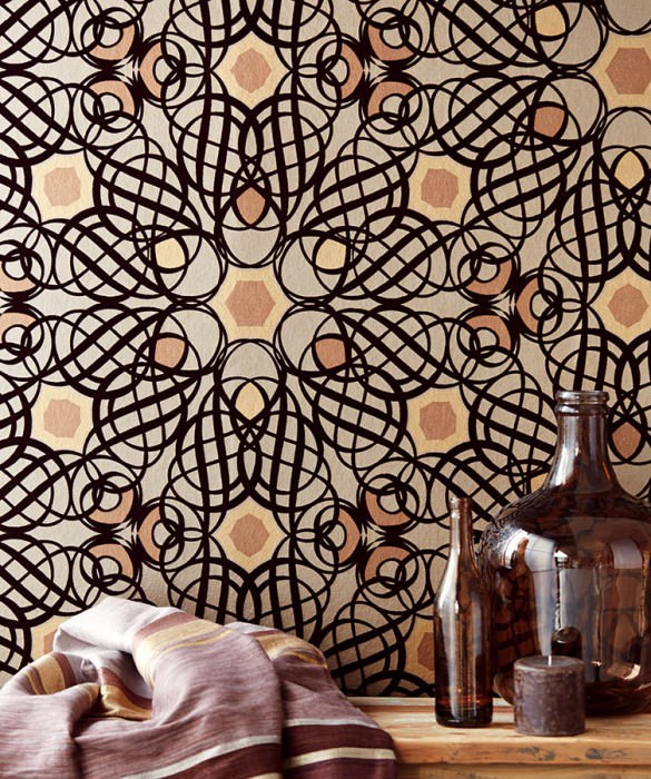 Wallpaper Nilus Matt pattern Shimmering base surface Modern damask Pearl beige Pearl gold Fawn brown shimmer Chocolate brown