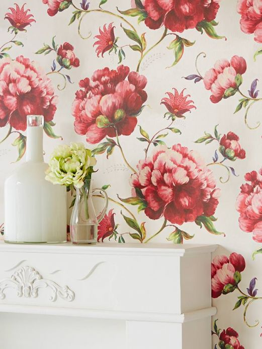 Archiv Wallpaper Meila ruby red Room View