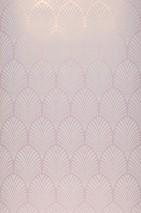 Papel de parede Lyria Padrão mate Superficie base iridiscente Leques Art Deco Rosa claro brilhante Branco creme