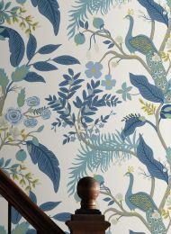 Tapete Peacock Tree Pastellblau