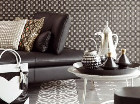 Wallpaper Erebos Matt Graphic elements Black Anthracite Anthracite shimmer Grey white Pearl dark grey Stone grey