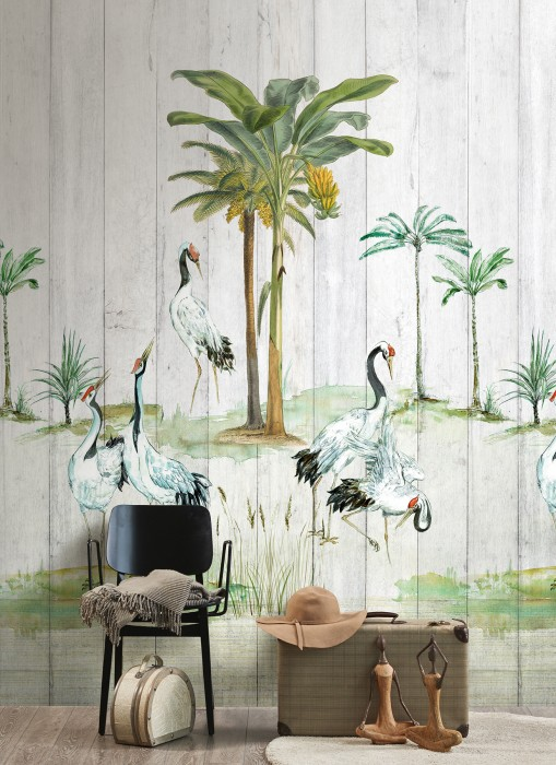 Papel pintado Anagon Mate Árboles Palmeras Pájaros Blanco grisáceo Marrón Amarillo Tonos de verde Rojo Negro