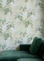 Wallpaper Tonga Matt Palm fronds Olive grey Pine green Olive green